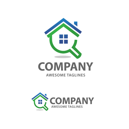 house search logo vector, searching for a house concepts. House with Magnifier. Icon for real estate renovation 일러스트