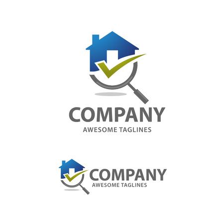 Vetor de logotipo de busca de casa, procurando por conceitos de uma casa. Casa com Magnifier. Ícone para renovação imobiliária