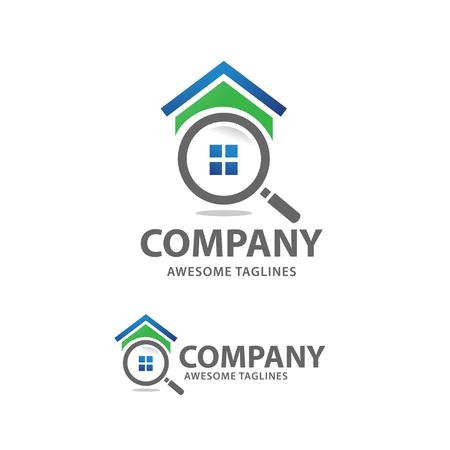 Casa de búsqueda logo vector, en busca de una casa conceptos. Casa con lupa. Icono para la renovación de bienes raíces Logos