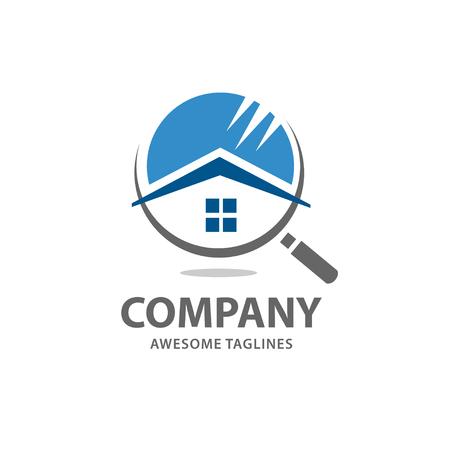 Casa de búsqueda logo vector, en busca de una casa conceptos. Casa con lupa. Icono para la renovación de bienes raíces