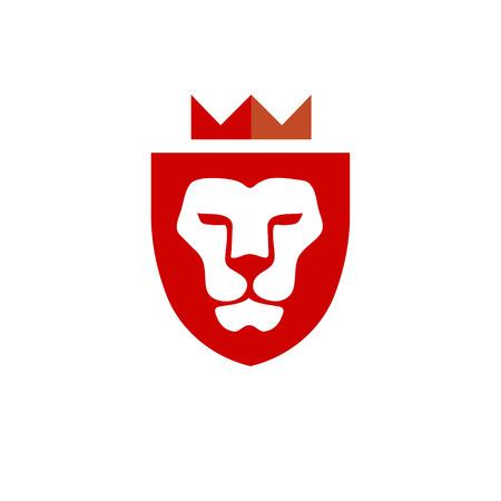 Lion king head with crown vector- vector sign concept illustration. Lion head logo. Wild lion head graphic illustration. Design element.