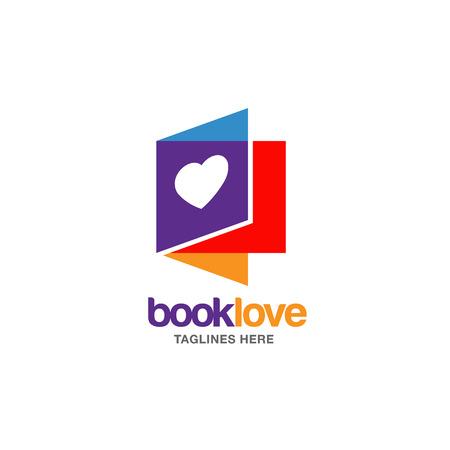 Creative book lover vector book and heart.
