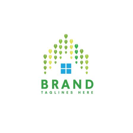 Groen huis, blad en huis dakbedekking ontwerpconcept. natuurlijk groen huis en onroerend goed concept, creatief groen blad als dakhuis logo Stock Illustratie