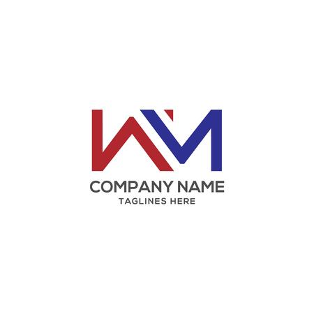 WM letter logo design vector illustration template, W letter logo vector, letteW and M logo vector, creative Letter WM letter logo Vectores