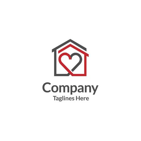 casa y corazón logo vector. vector de logotipo de atención domiciliaria, amor de corazón, logotipo de familia de hogar de amor, realeza.