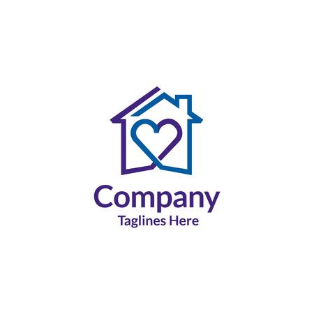 House and heart logo vector. home care logo vector, Heart love, love home family logo , royalty. 일러스트