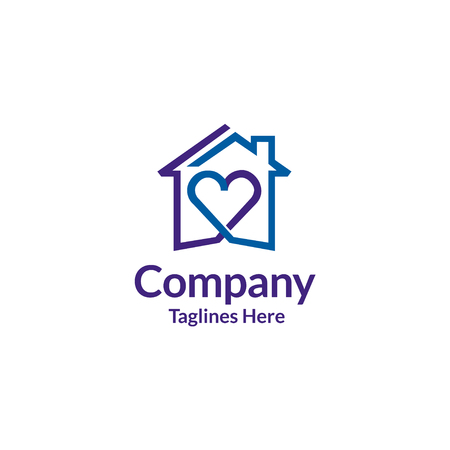 House and heart logo vector. home care logo vector, Heart love, love home family logo , royalty. Stock Illustratie