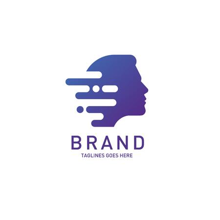 Man head logo Brain, Creative mind, learning and design icon. Illusztráció