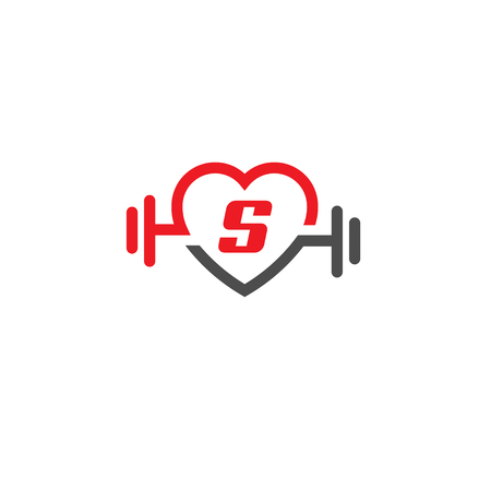 Heart letter S sign, pulse and dumbbell icon vector.