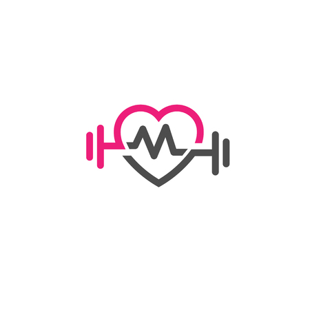 Heart sign, pulse and dumbbell icon vector.