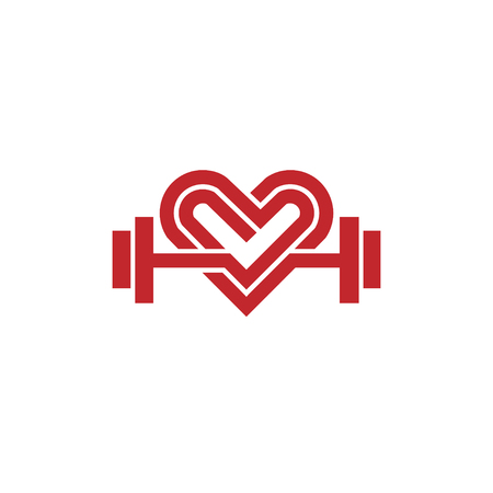 Heart sign and dumbbell icon vector.