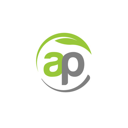 ap: creative letter AP with circle green leaf ecology nature element vector