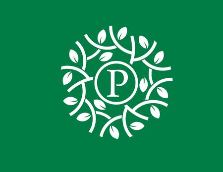 Letra P con el concepto de logotipo de círculo verde, ilustración de la hoja verde de la letra s con estilo de círculo, perfecto para la salud y el negocio relacionado verde Foto de archivo - 87480316