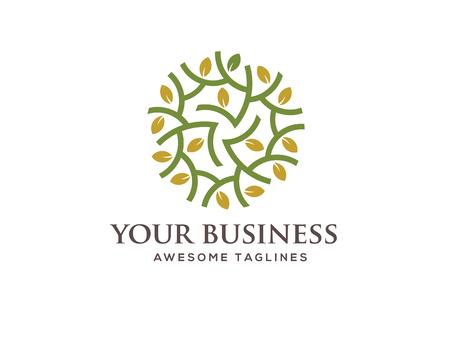Concepto de logotipo de círculo verde, ilustración de hoja verde con estilo de círculo, perfecto para la salud y el negocio relacionado verde Foto de archivo - 87713072