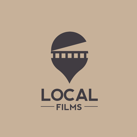 combination: Vector logo combination of a film and pin locator, local film logo, Unique pin and film logo design template
