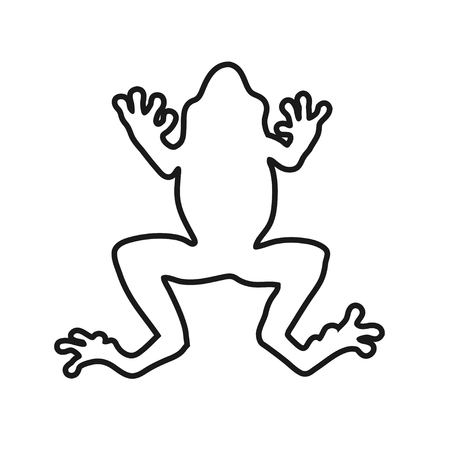 Frog lines vector illustration. coloring for adult toad. frog Black and white lines hop toad. frog Lace pattern