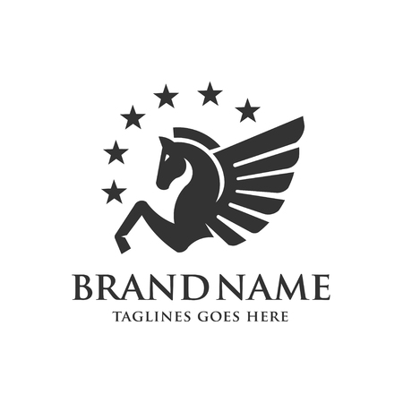 Winged Pegasus with stars symbol icon Vectores
