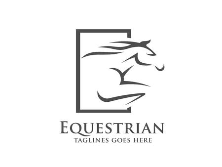 Pferderennen Logo Vorlage. Vector Rennfahrer oder aufziehenden Mustang und laufenden Hengstkopf für pferdeartige Sportrennen oder -fahrten und Reiterwettbewerb Logo