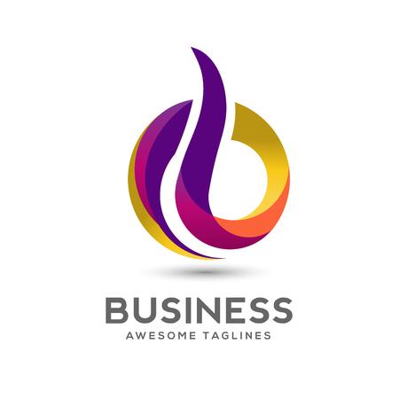 Lettre B coloré Logo Design Vector. Lettre créative B Rainbow Gradient logo concept Illustration.