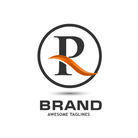 Business corporate letter R swoosh circle design template. Simple and clean flat design of letter R vector template
