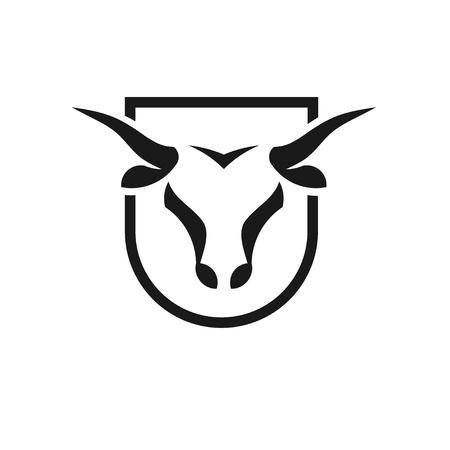 Bull head black shield Vectores