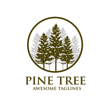 Pine tree outdoor travel green silhouette forest logo , natural pine tree badge abstract stem drawing vector illustration. Creative pine tree silhouette and circle logo vector