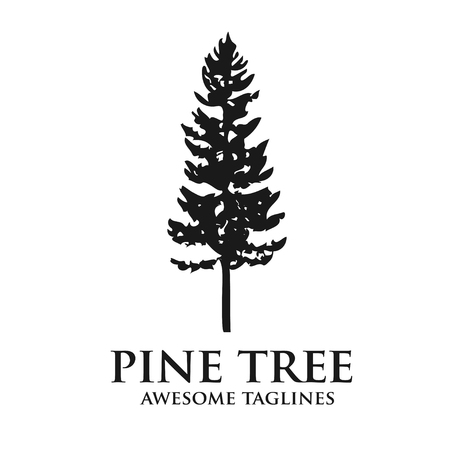 Pine tree outdoor travel green silhouette forest logo , natural pine tree badge abstract stem drawing vector illustration. Creative pine tree silhouette logo vector Ilustração