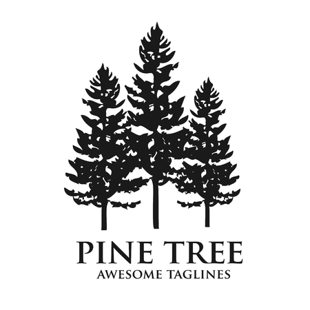 Tree outdoor travel green silhouette forest logo coniferous natural badge tops pine spruce branch cedar and plant leaf abstract stem drawing vector illustration. Panorama scene horizon decoration.