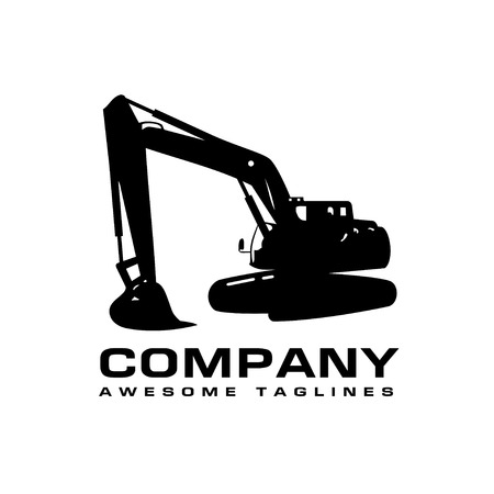 Excavators Construction machinery, Hydraulic mining excavator vector illustration. Heavy construction equipment symbol with boom dipper and bucket. Construction machinery for digging sand gravel or dirt.