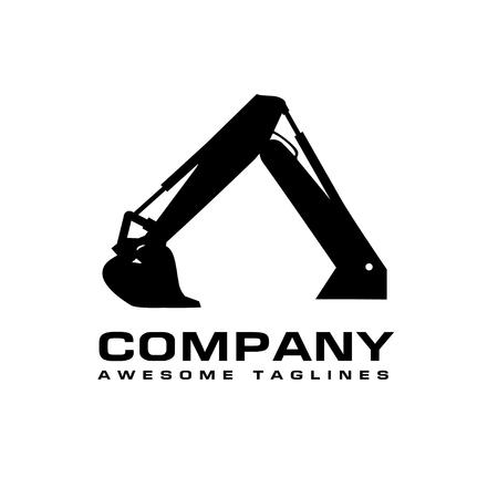 掘削機建設機械、油圧鉱山掘削機ベクトル図。ブームディッパーとバケツを備えた重い建設機械のシンボル。砂砂利や汚れを掘るための建設機械。