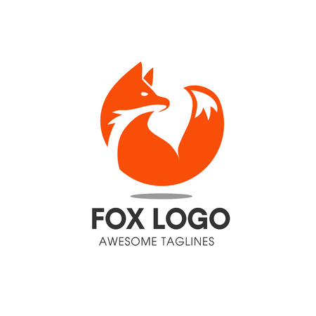 Fox circle vector symbol. Fox sign or icon template. Creative fox animal face modern simple design concept. Isolated vector illustration.