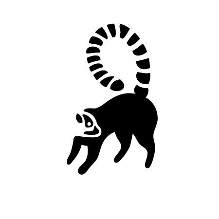 lemur silhouette icon vector, creative lemurs negative space  vector,Ring-tailed lemur