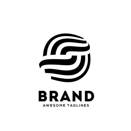Letter S cirkel strips logo ontwerp sjabloon elementen. Eenvoudig en schoon plat ontwerp van de letter S logo vector sjabloon.