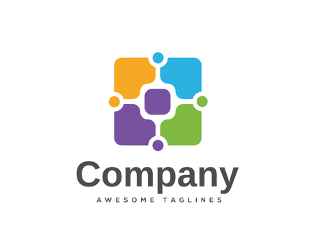 Abstract square technology art logo vector. Corporate identity design element. Technology, Industrial, Logistic, Social Media logotype idea. Square, network, banking growth concept. Colorful Vector icon 일러스트
