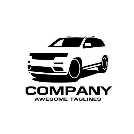 Vector Auto-Schattenbildikone, Schattenbild des SUV-Autoartvektors, Selbstautoikonenkonzept