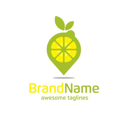 Lemon pin logo concept.