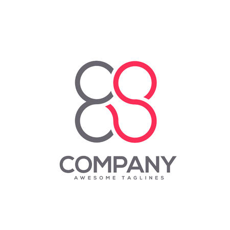 letter E and S circle connect logo concept , E and S Letter circle flat color logo design