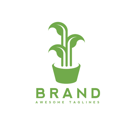 Green leaves growing in pot logo concept. Logo design of organic plant in flowerpot vector illustration. Logotype for company producing plants, leaf as symbol of new life, growth label Vettoriali