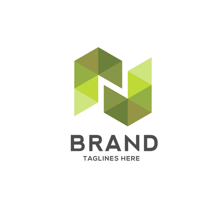 Letter n colorful geometric logo. Simple and clean flat design of letter n logo vector template.