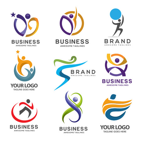 simple modern abstract fitness logo set  イラスト・ベクター素材