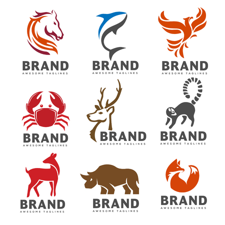 Best animal logo collection on white background. exotic tropic animal emblem. Stock Illustratie