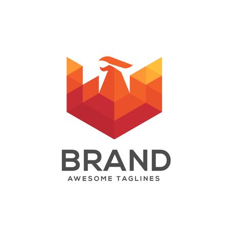 Phoenix modern geometric logo concept,best phoenix logo concept, luxury phoenix consulting element logo icon concept Illustration