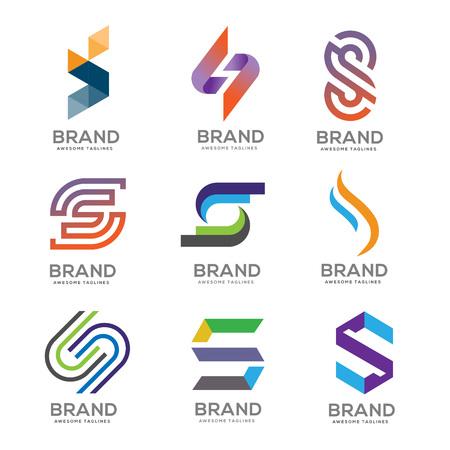 Letter S Logo template vector design logo set, modern Letter S Logo set template editable for your business  イラスト・ベクター素材