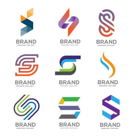 Letter S Logo template vector design logo set, modern Letter S Logo set template editable for your business Illusztráció
