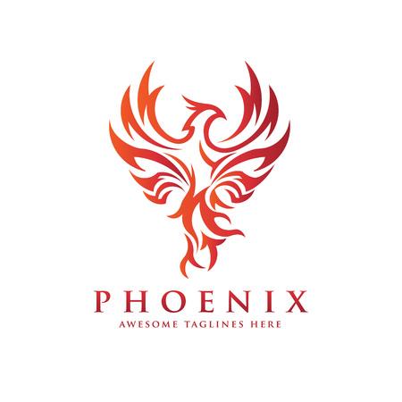luxury phoenix logo concept, best phoenix bird logo design, phoenix vector logo Vettoriali