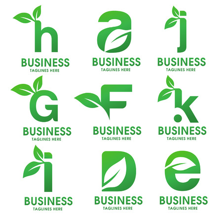 letter with leaf logo white background. letter with leaf of sprout grass for corporate company