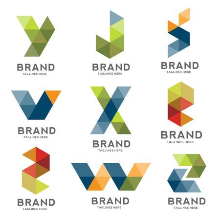 set of letter geometric logo vector, creative modern colorful letter logo , modern letter IT logo, Letter e-commerce logo