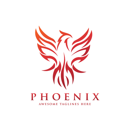 luxury phoenix logo concept, best phoenix bird logo design, phoenix vector logo,creative logo of mythological bird