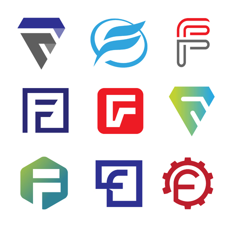 unique letter F creative logo set vector illustration, Logo for corporate identity of company of letter F