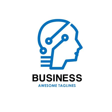 smart human head logo, Digital human vector logo concept , Human head with digital technology Illustration